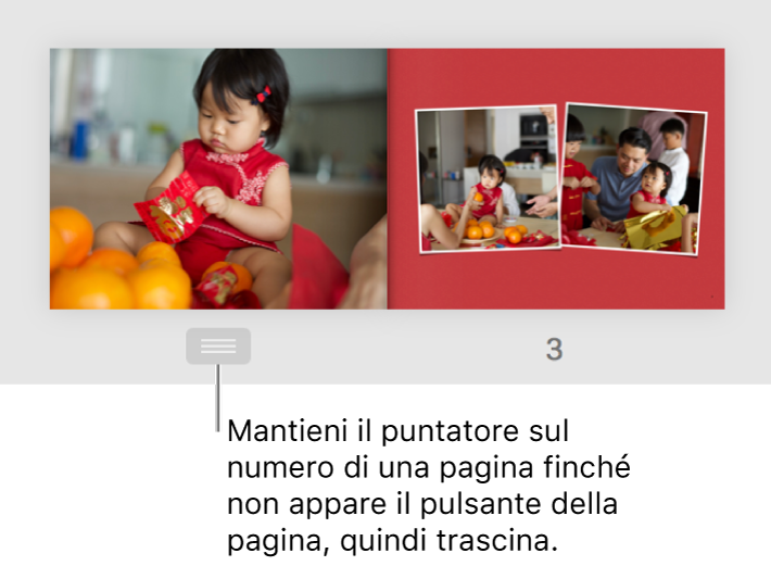Una pagina doppia con il pulsante di pagina visibile sotto la pagina.