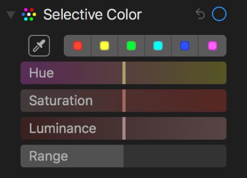 「カラーごとの調整」コントロール。「色相」、「彩度」、「輝度」、および「範囲」スライダが表示されています。