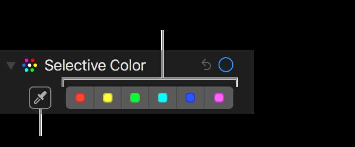 「カラーごとの調整」コントロール。「スポイト」ボタンとカラーウェルが表示されています。