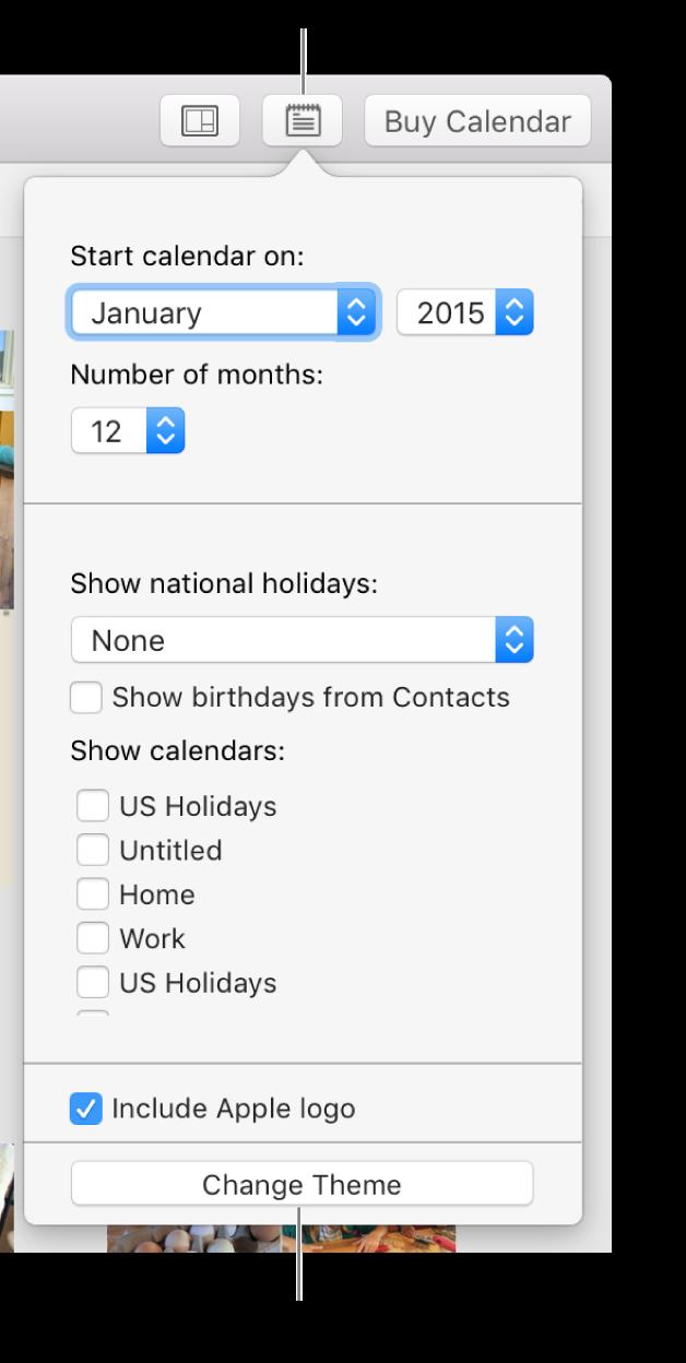 「カレンダーの設定」オプション。下部に「テーマを変更」ボタンがあります。