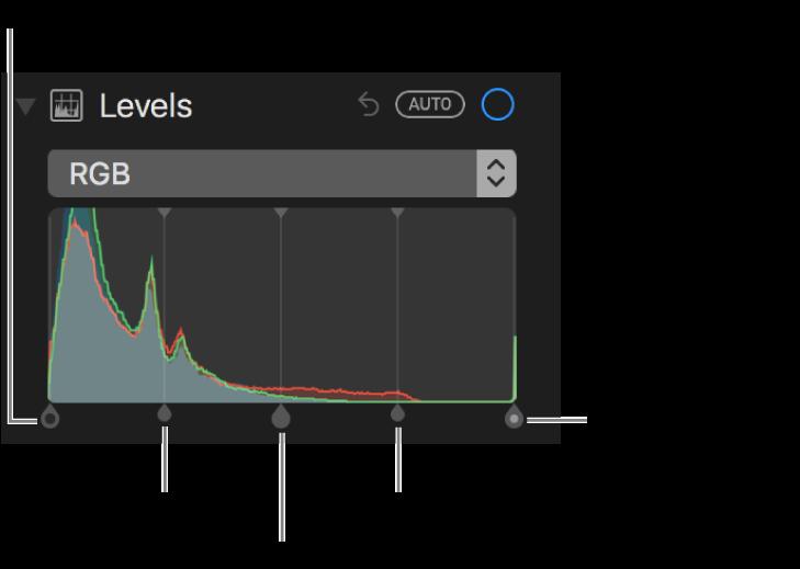 블랙 포인트, 그림자, 중간톤, 하이라이트 및 화이트 포인트(왼쪽에서 오른쪽 순서)를 포함하는 RGB 히스토그램을 따라 있는 레벨 제어기.