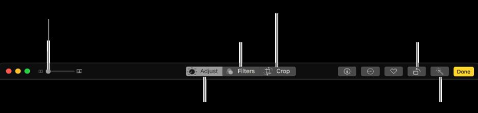 조절, 필터, 자르기 옵션을 표시하는 버튼이 표시된 편집 도구 막대.