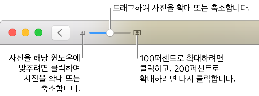 확대/축소 제어기를 보여주는 도구 막대.