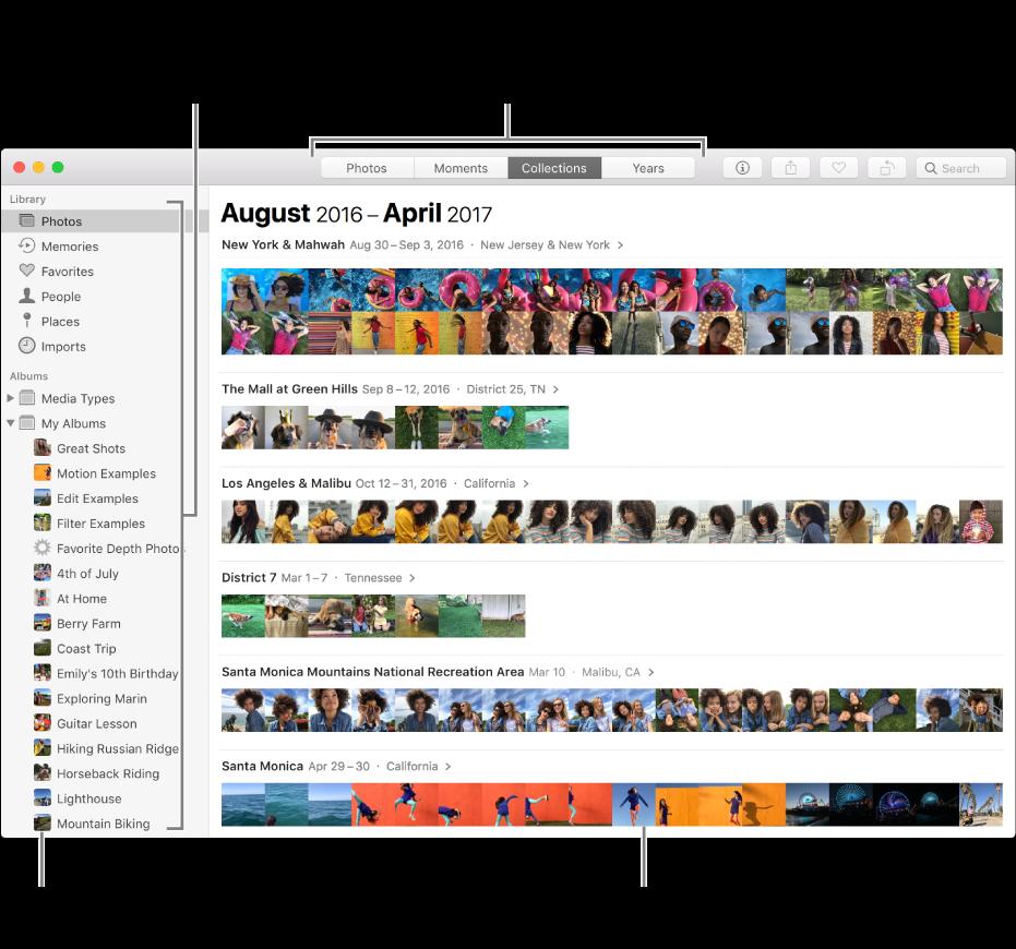 모음별로 구성된 사진을 보여주는 사진 앱 윈도우.