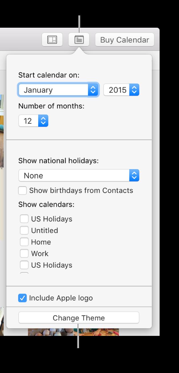 Venster met kalenderinstellingen en de knop 'Wijzig thema' onderin.