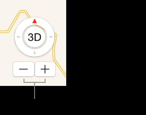 Zoomknoppen op een kaart.