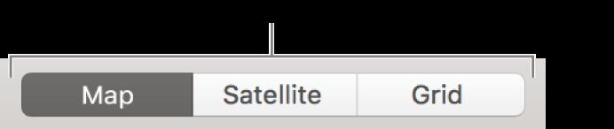 De knoppen 'Kaart', 'Satelliet' en 'Raster'.
