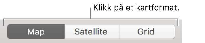 Kart-, Satellitt- og Rutenett-knapper.