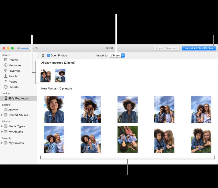 Bilder på enheten som du allerede har importert vises øverst i panelet. Nye bilder er nederst. Øverst i midten er «Importer til»-lokalmenyen. Importer alle nye bilder-knappen er øverst til høyre.
