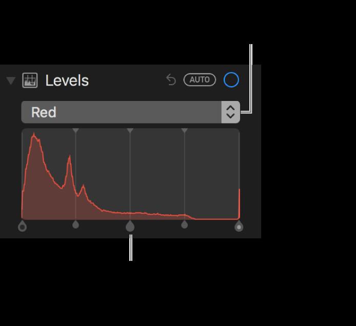 Nivåkontroller og histogram for å endre rødfarger i et bilde.