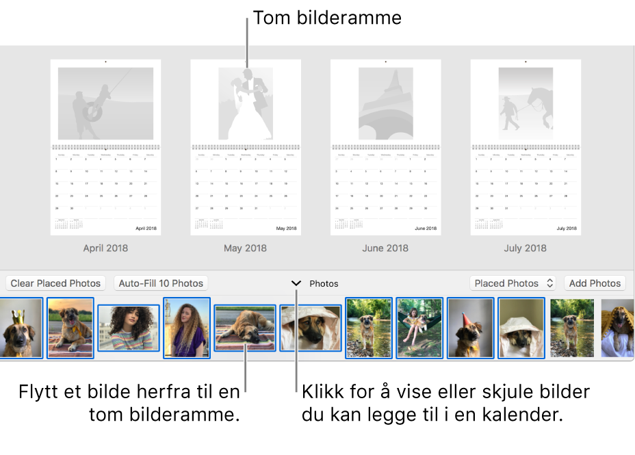 Bilder-vindu som viser sider i en kalender med Bilder-området nederst.