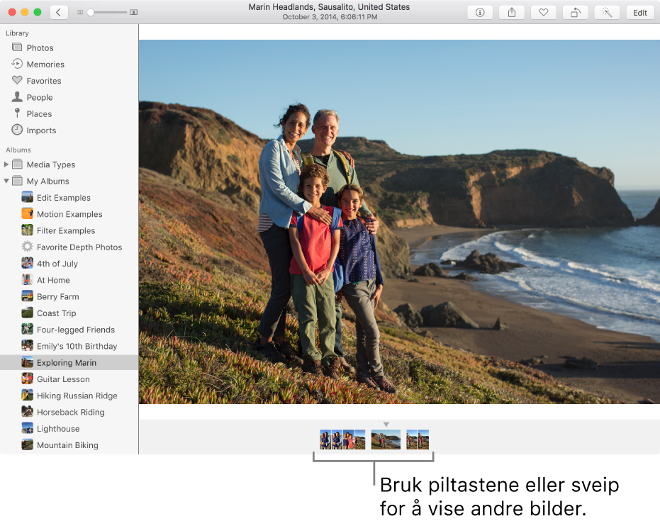 Bilder-vindu som viser bilder i samme album eller samling under et bilde.