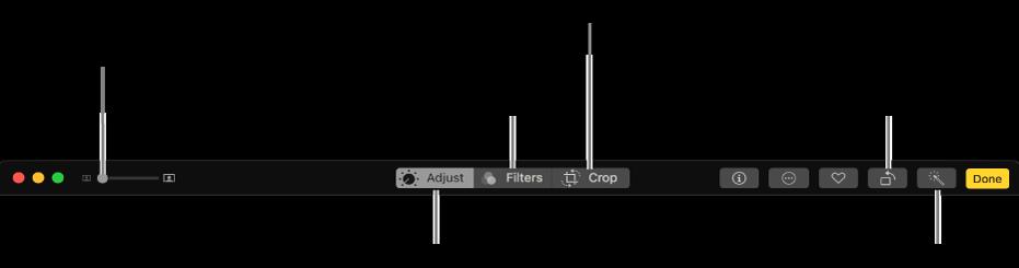 Rediger-verktøylinjen som viser knapper for å vise justeringer, filtre og beskjæringsalternativer.