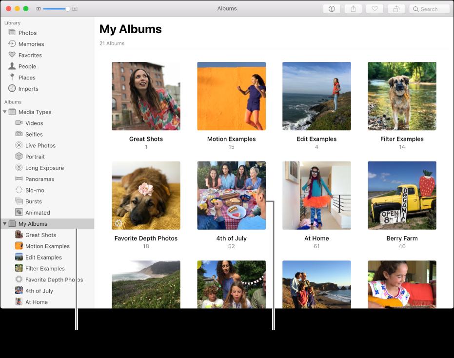 Bilder-vinduet med Mine albumer markert i sidepanelet, og albumene du har opprettet vist i vinduet til høyre.