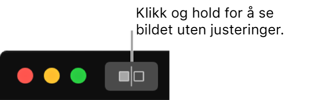 Uten justeringer-knappen, ved siden av vinduskontrollene øverst til venstre i vinduet.