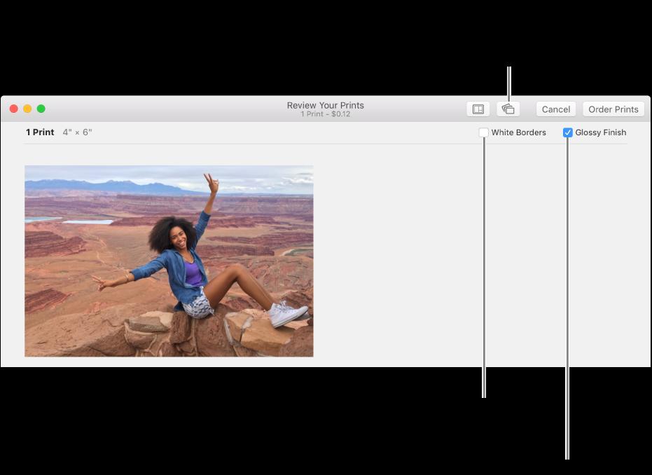 Vindu som viser alternativer for å kontrollere utseendet på papirbilder.