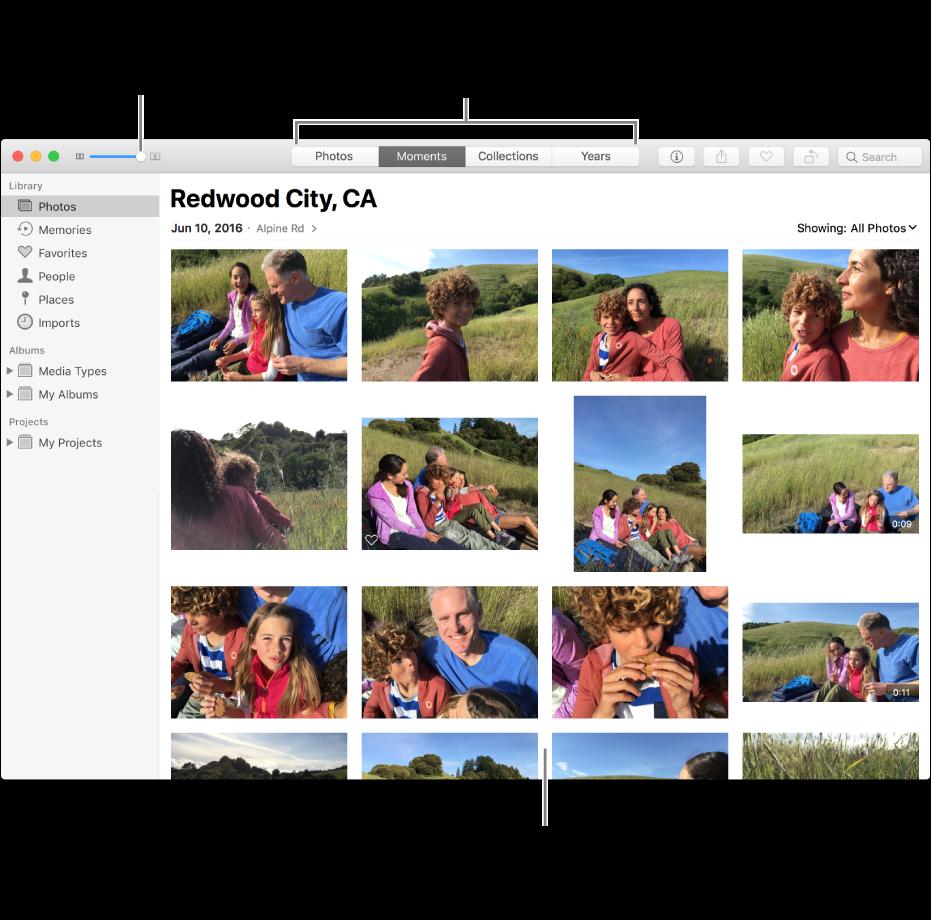 Okno aplikacji Zdjęcia zawierające zdjęcia wchwili.