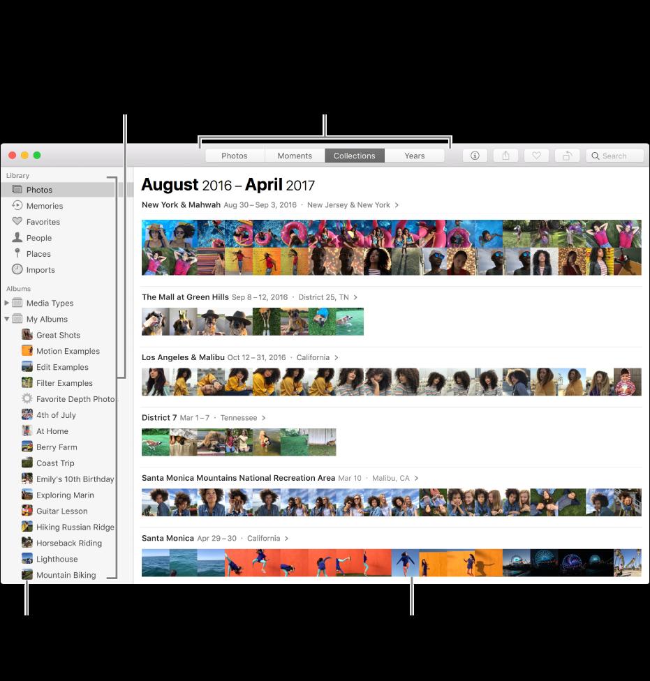 Okno aplikacji Zdjęcia zawierające zdjęcia uporządkowane według zbiorów.