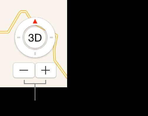 Przyciski powiększania ipomniejszania mapy.