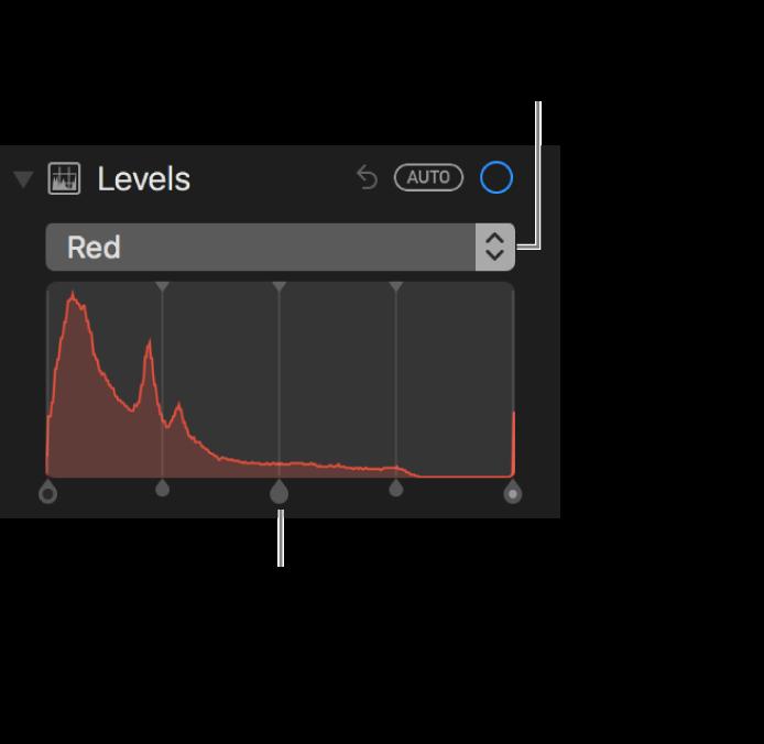 Narzędzia poziomów oraz histogram dla zmiany odcieni koloru czerwonego na zdjęciu.