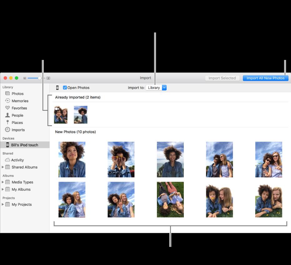 Zdjęcia już zaimportowane są widoczne na górze, natomiast nowe zdjęcia na tym urządzeniu są widoczne na dole. Na górze, po środku znajduje się menu podręczne Importuj do. Przycisk Importuj wszystkie nowe zdjęcia znajduje się wprawym górnym rogu okna.