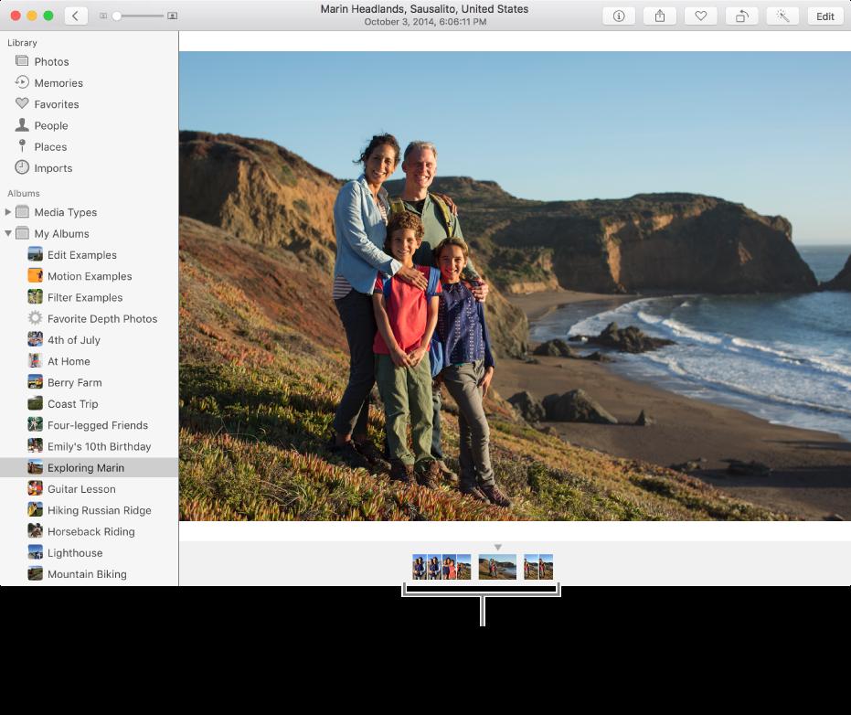 Okno aplikacji Zdjęcia pokazujące zdjęcia wtym samym albumie lub zbiorze pod zdjęciem.