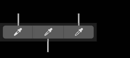 Três conta-gotas usados para selecionar o ponto preto, tons médios e o ponto branco da foto.