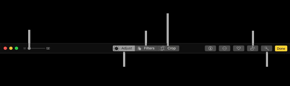 A barra de ferramentas de edição mostrando botões para exibição de opções de ajustes, filtros e recorte.