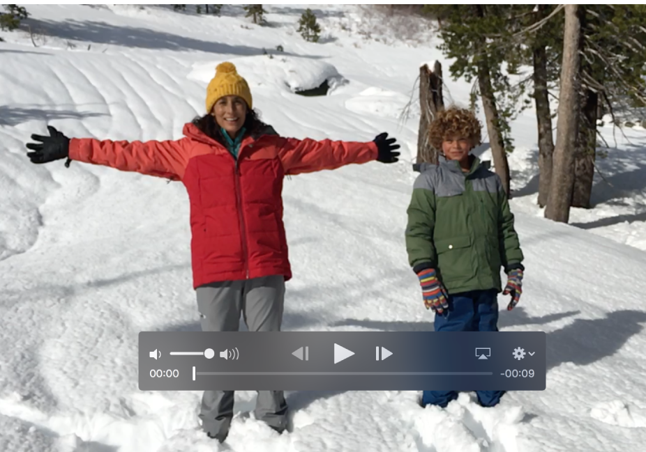 Clipe de vídeo com controles de reprodução na parte inferior.