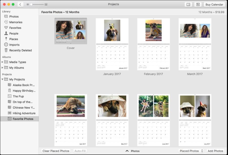 Janela do Fotos exibindo um calendário.
