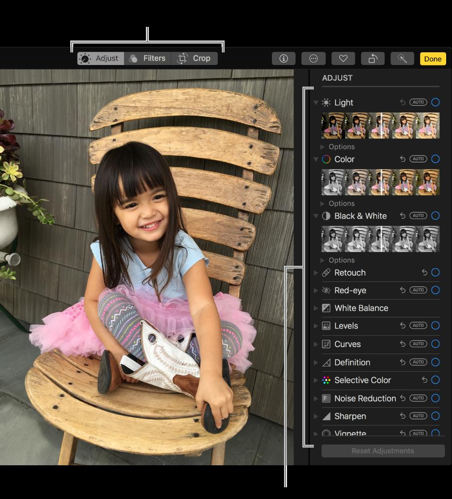 Foto na visualização de edição, com ferramentas de edição à direita.