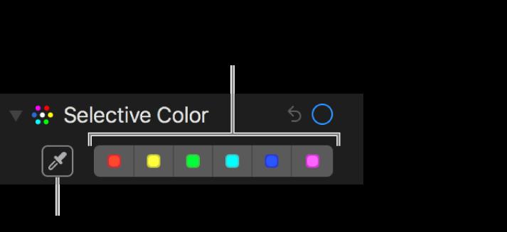 Controlos de cor seletiva com o botão de conta‑gotas e os seletores de cor