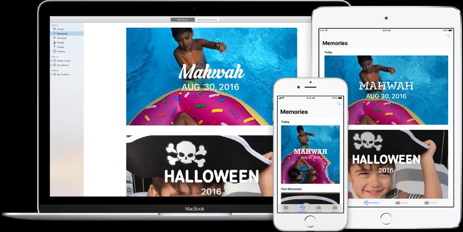 Um Mac, um iPhone e um iPad configurados para usar a Fototeca em iCloud, exibindo todos eles o mesmo conjunto de fotografias.