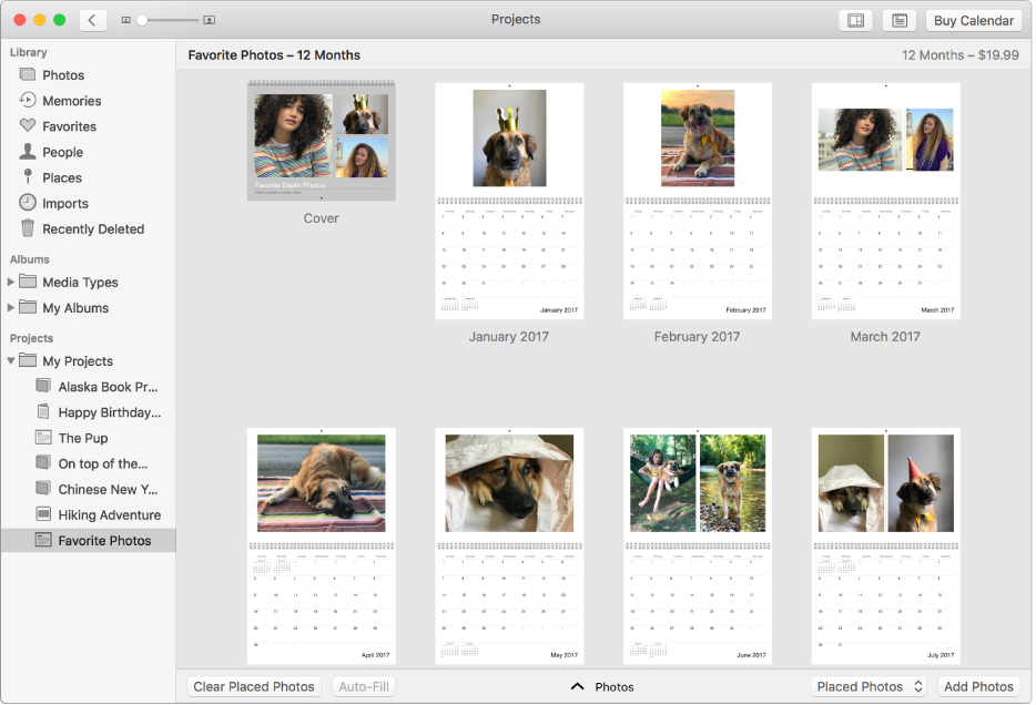 Janela de Fotografias a mostrar um calendário.