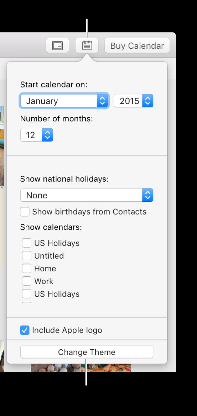 """Opções de definições do calendário com o botão """"Alterar tema"""" na parte inferior"""