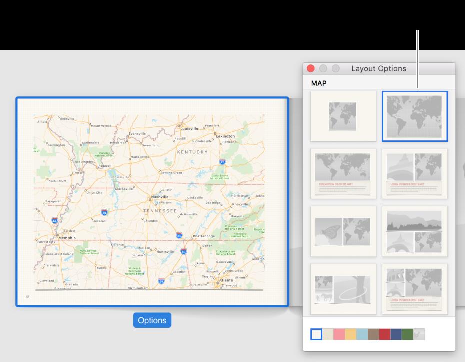 """Janela """"Opções de disposição"""" a mostrar as disposições com mapa."""