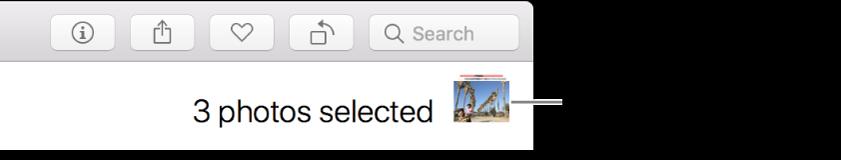 O indicador de seleção a mostrar três fotografias selecionadas.