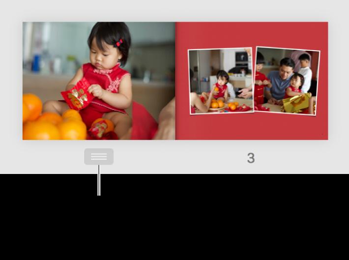 Страница на двухстраничном развороте; под страницей отображается кнопка страницы.
