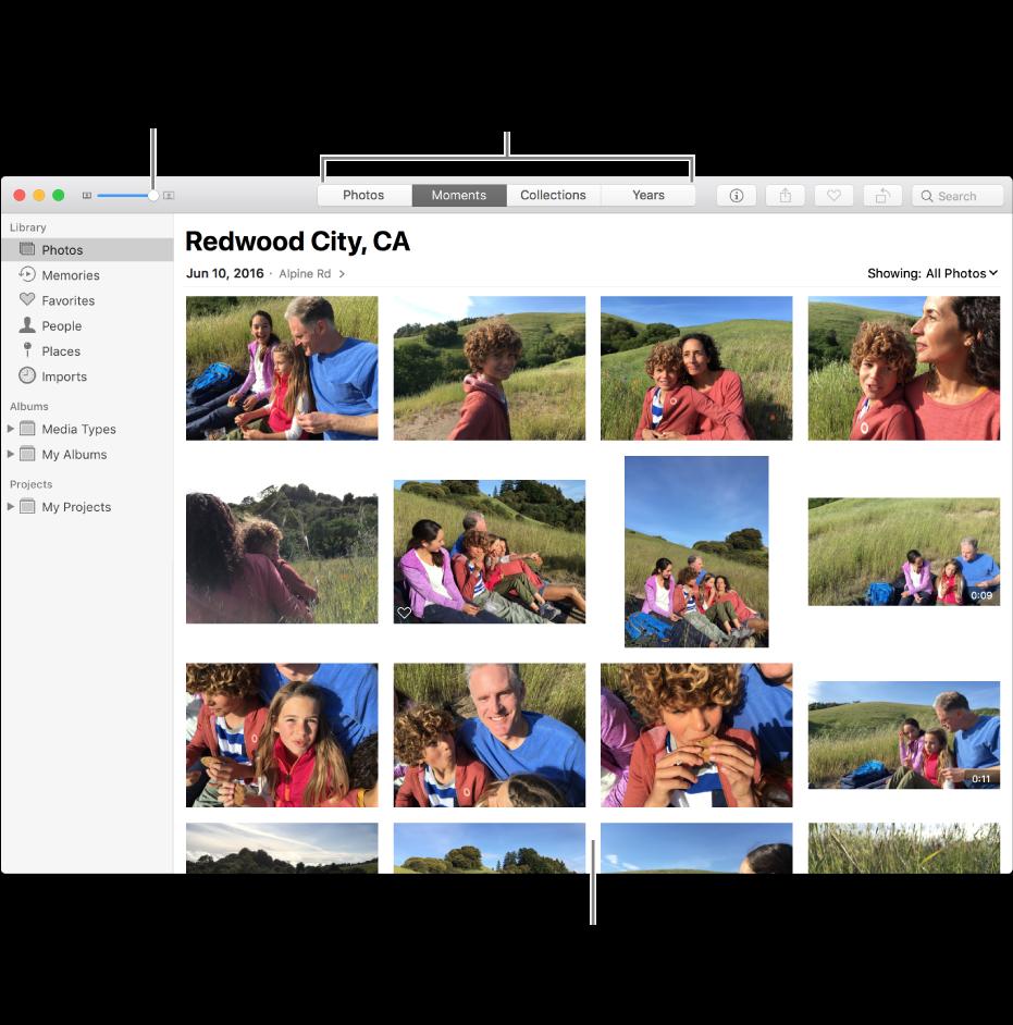 Окно программы «Фото» с фотографиями в моменте.