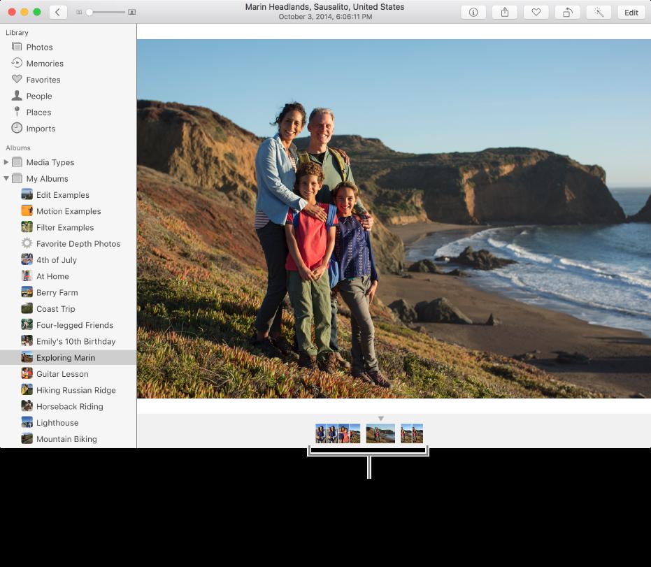 Окно программы «Фото»: под фотографией показаны фотографии из того же альбома или коллекции.