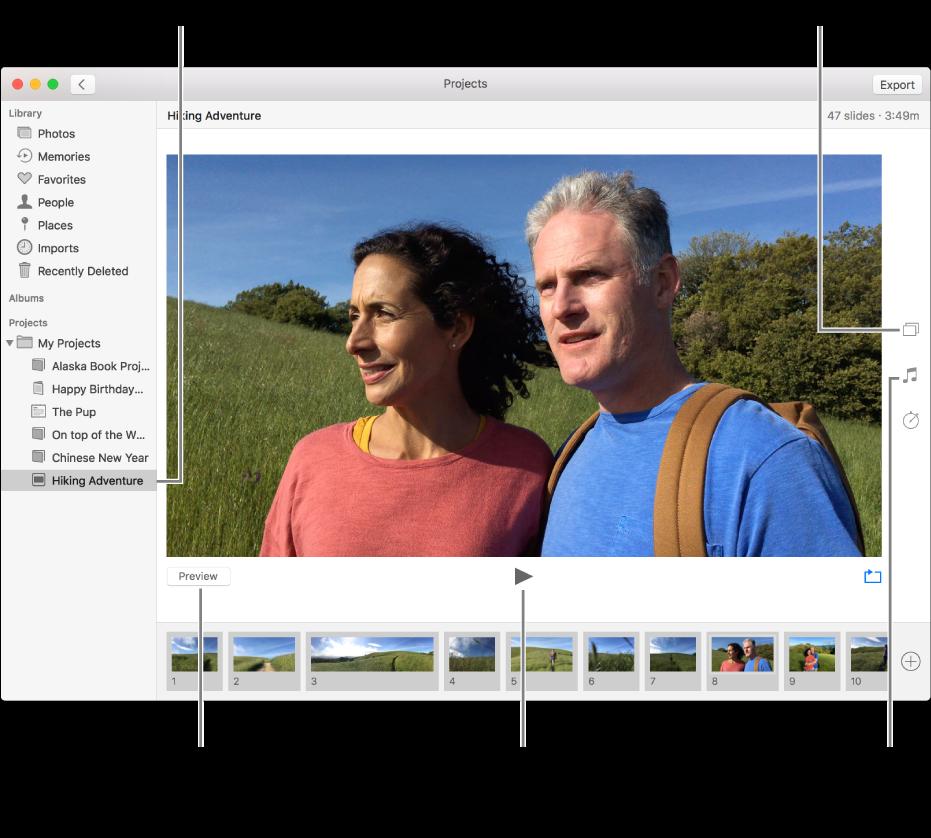 Окно «Фото», в котором показаны следующие элементы: слайд-шоу в главной части окна, кнопка «Просмотр», кнопка воспроизведения и кнопка зацикливания под главным изображением слайд-шоу, миниатюры всех изображений в слайд-шоу в нижней части окна, а также кнопки «Тема», «Музыка» и «Длительность» справа.