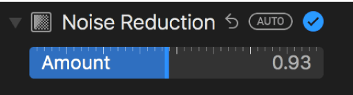 Бегунок «Уменьшение шума» на панели «Коррекция».