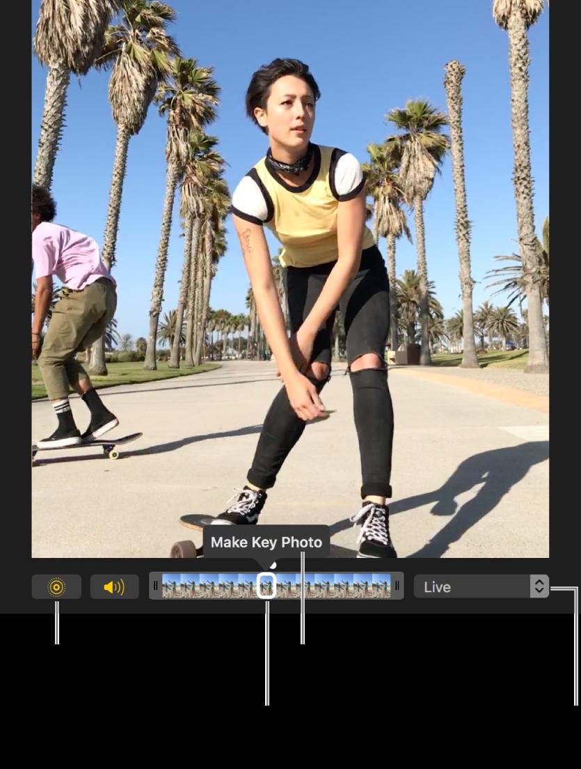 En Live Photo-bild i redigeringsvyn med ett reglage under som visar bildens kanter. Live Photo-knappen och högtalarknappen sitter till vänster om reglaget, till höger finns en popupmeny som du kan använda till att lägga till en loopeffekt, studseffekt eller lång exponeringseffekt.