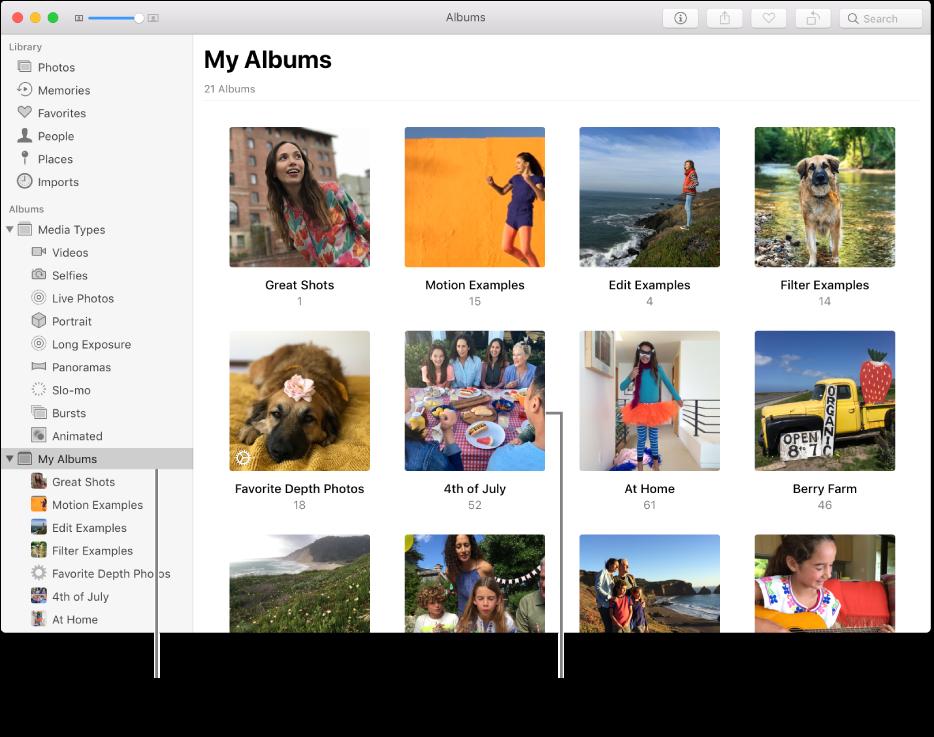 หน้าต่างรูปภาพที่มีอัลบั้มของฉันถูกเลือกอยู่ในแถบด้านข้าง และอัลบั้มที่คุณสร้างไว้ซึ่งแสดงอยู่ในหน้าต่างทางขวา