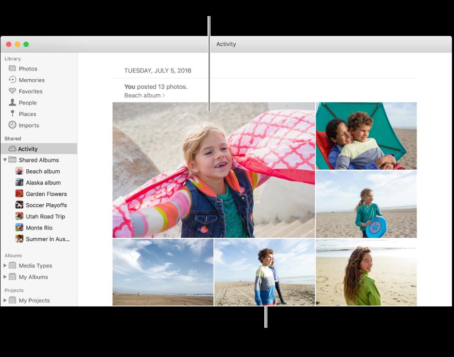 หน้าต่างรูปภาพที่มีอัลบั้มกิจกรรมแสดงอยู่