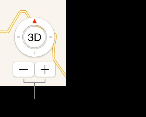 Haritadaki büyütme/küçültme düğmeleri.