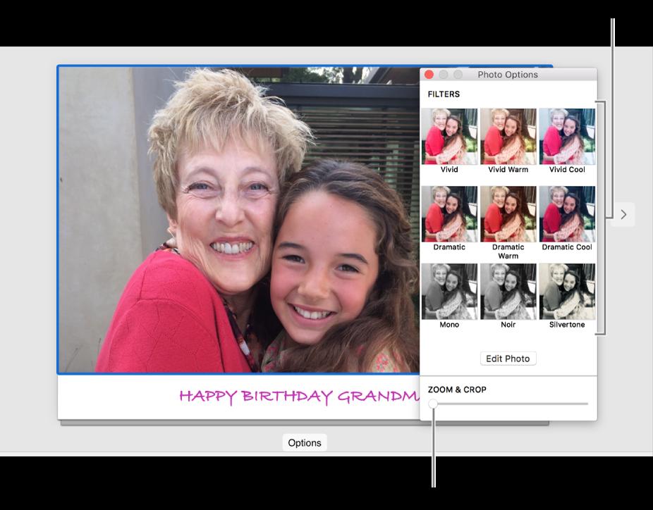 """底部显示""""缩放与裁剪""""滑块而顶部显示效果选项的卡片的""""照片选项""""窗口。"""