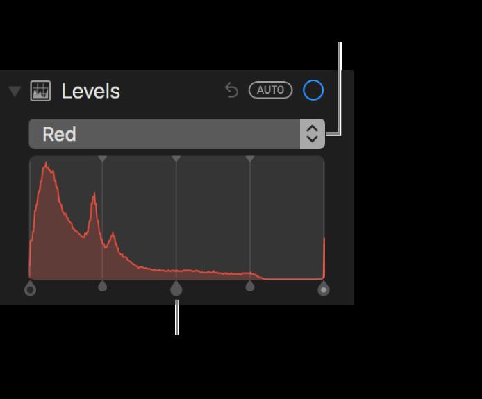 色階控制項目和色階分佈圖,為更改照片中的紅色。
