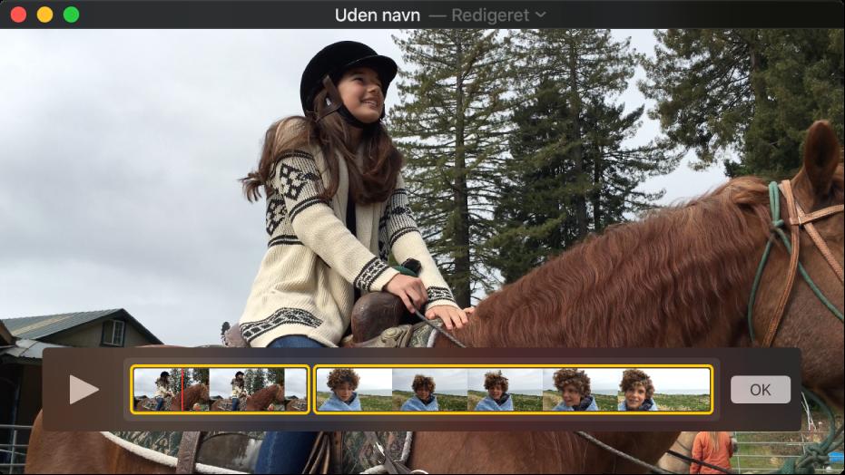 QuickTime Player-vinduet viser redigeringsværktøjet til filmklip.