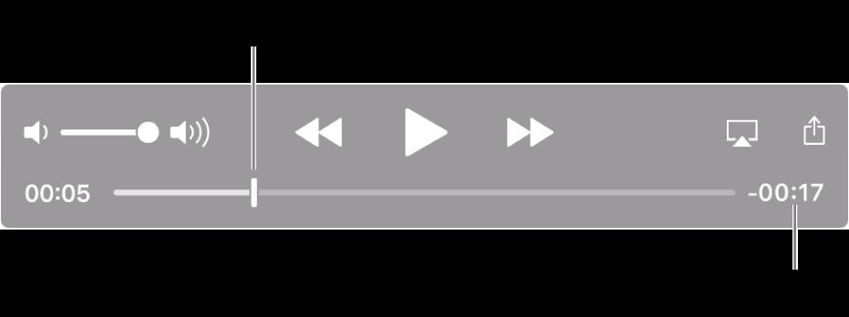 Die QuickTime-Wiedergabesteuerungen Am oberen Rand befinden sich Lautstärkeregler, Rückspultaste, Wiedergabetaste und die Taste für den schnellen Vorlauf Unten befindet sich die Abspielposition, die du bewegen kannst, um zu einem bestimmten Punkt in der Datei zu gelangen Die verbleibende Wiedergabedauer der Datei wird unten rechts angezeigt
